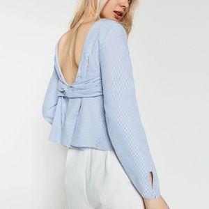 Zara blue striped low back top